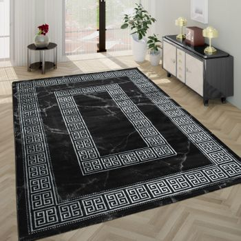 Living Room Rug, Short-Pile With Marble Design And Grey Border In Black – Bild 1