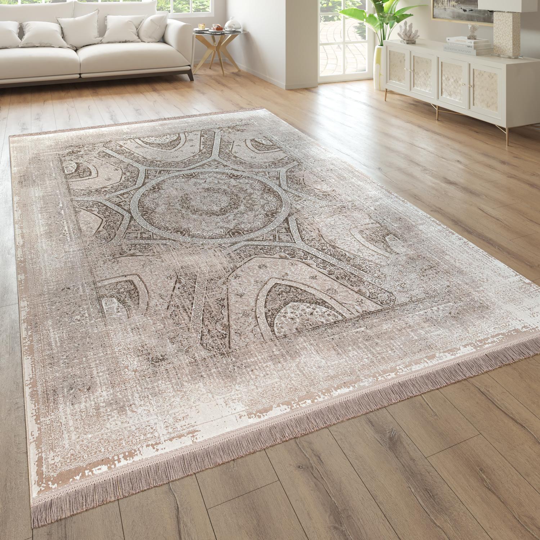 Tappeto per soggiorno, a pelo corto con design orientale e used-look in beige