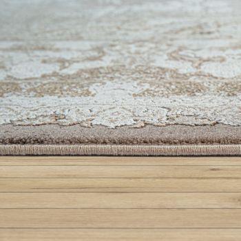Tappeto per soggiorno, a pelo corto con design orientale e motivo floreale in beige – Bild 2