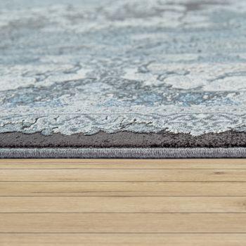 Living Room Rug, Short-Pile With Oriental Design, Floral Pattern In Grey – Bild 2