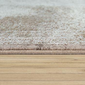 Living Room Rug, Short-Pile With Oriental Design, Floral Pattern In Beige – Bild 2