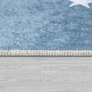 Alfombra Infantil, Tejido Plano Para Habitación Infantil, Con Frase Estampada Y Estrellas, Azul – Bild 2