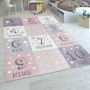 Children's Rug, Flat-Weave For Children's Room, Number Design Check Pattern, In Rose Pink – Bild 1