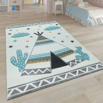 Children's Rug, Children's Rooms Pastel Colours, Indian Tent Motif 3D In Beige – Bild 1