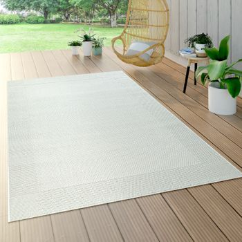 Outdoor Rug Border Balcony White