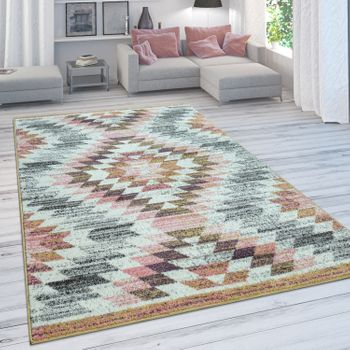Living Room Rug, Modern Short Pile With Diamond Design, In Pastel Colours – Bild 1
