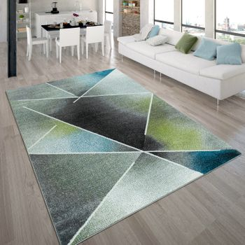 Designer Rug, Short-Pile Rug With Triangle Pattern and Colour Gradient, In Multicoloured – Bild 1