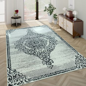 Living Room Rug, Short-Pile Rug With Vintage Look Baroque Design, In Beige – Bild 1