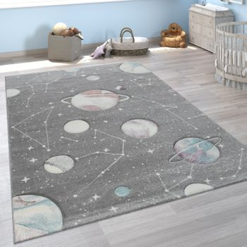Children's Rug Children's Room Planets Stars Grey