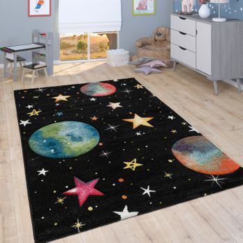 Play Rug Children's Room Planets Stars Black