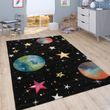 Play Rug Children's Room Planets Stars Black 001