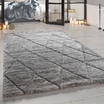 Deep-Pile Rug, Designer Shaggy For Living Room With Diamond Pattern, In Grey – Bild 1