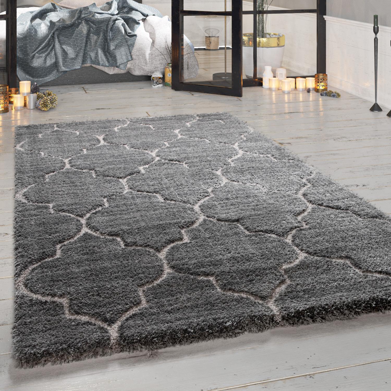Tapis Poils Longs, Shaggy de Créateur Pour Salon Avec Design Oriental, Gris