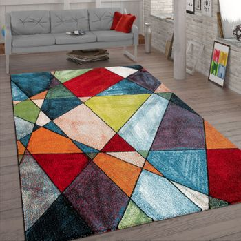 Living Room Rug, Short-Pile Rug With Geometric 3D Design, Multi-Coloured – Bild 1