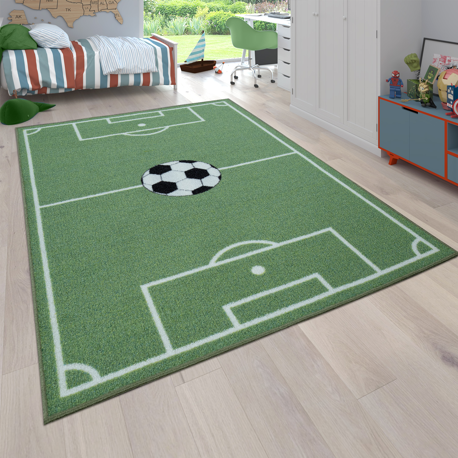 Children's Rug, Play Rug For Child's Room With Football Design, In Green