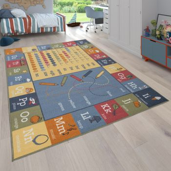Children's Rug, Reversible Rug With Landscape Design and Educational Motifs, Multi-Coloured – Bild 1