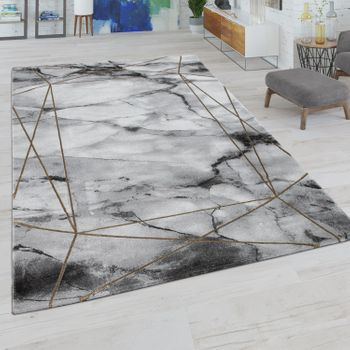 Living Room Rug Short Pile With Marble Look And Line Border In Grey Gold – Bild 1