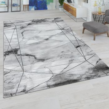 Living Room Rug Short Pile With Marble Look And Line Border In Grey Silver – Bild 1