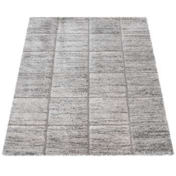Deep-Pile Rug, Designer Shaggy For Living Room With Oriental Pattern, In Grey – Bild 4