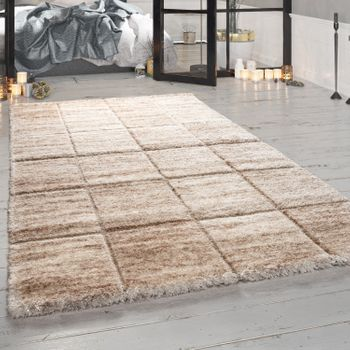 Deep-Pile Rug, Designer Shaggy For Living Room With Oriental Pattern, In Beige – Bild 1