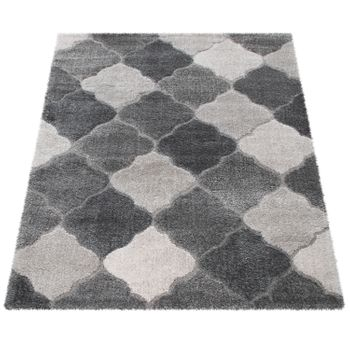 Deep-Pile Rug, Designer Shaggy For Living Room With Oriental Look, In Grey – Bild 4