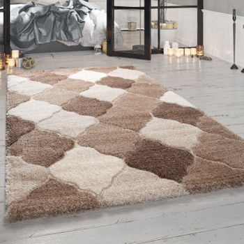 Deep-Pile Rug, Designer Shaggy For Living Room With Oriental Look, In Beige – Bild 1