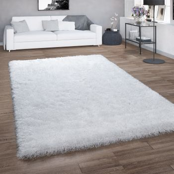 hoogpolig vloerkleed voor woonkamer, shaggy met glittergaren, effen wit – Bild 1