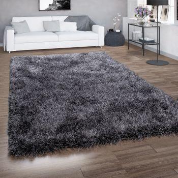 hoogpolig vloerkleed voor woonkamer, shaggy met glittergaren, grijs antraciet – Bild 1
