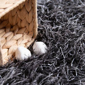 hoogpolig vloerkleed voor woonkamer, shaggy met glittergaren, grijs antraciet – Bild 3