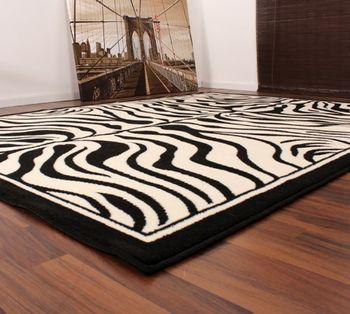 Moderner Designer Teppich Schwarz Weiss Zebra Tiermuster Neu*OVP – Bild 3