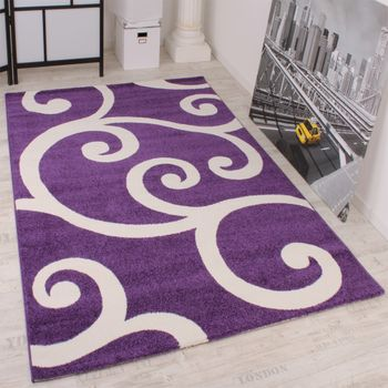 Modern Designer Carpet Purple White Pattern