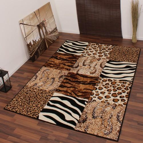 Modern Designer Rug Leopard Zebra Pattern Beige Black Animal Patchwork Design
