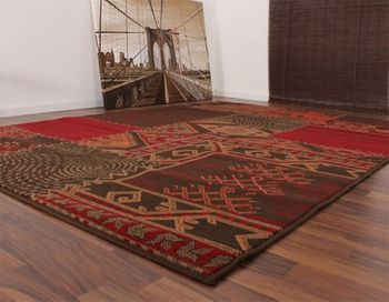 Designer Rug - Contemporary - Patchwork Pattern - Red Brown – Bild 2
