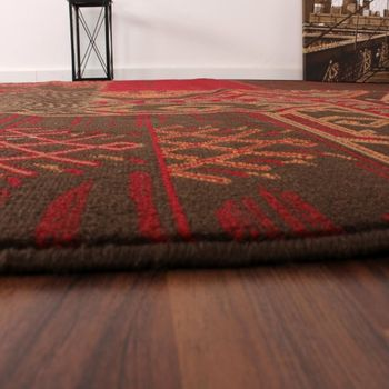 Designer Rug - Contemporary - Patchwork Pattern - Red Brown – Bild 3