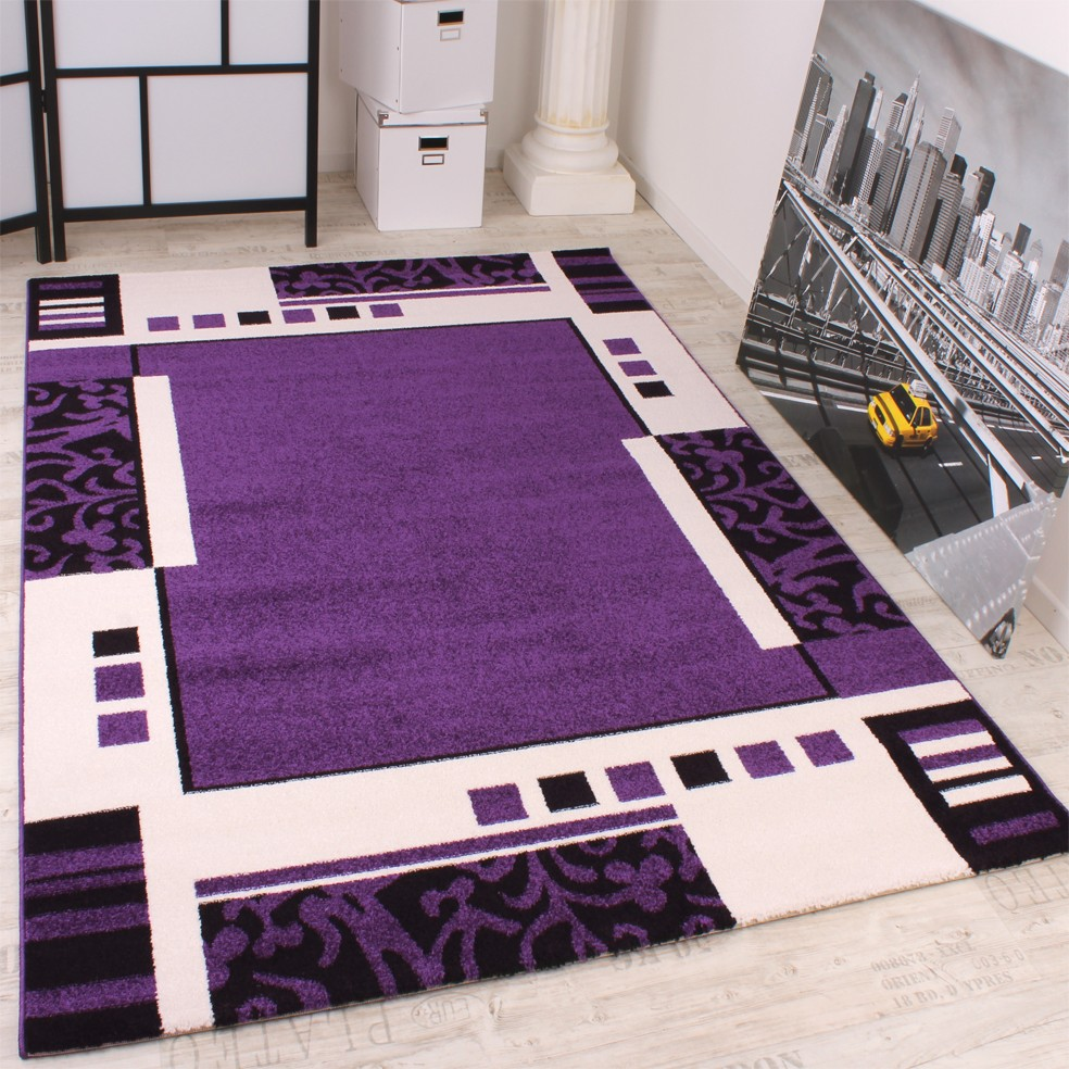 Modern Designer Carpet Purple Black White Pattern Top Quality At Top Price