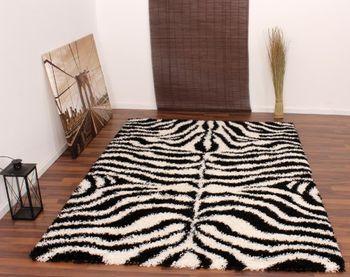 Tapijt hoogpolig shaggy-zebrapatroon zwart wit