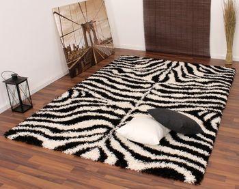 Teppich Hochflor Shaggy Muster Zebra Schwarz Weiss – Bild 2