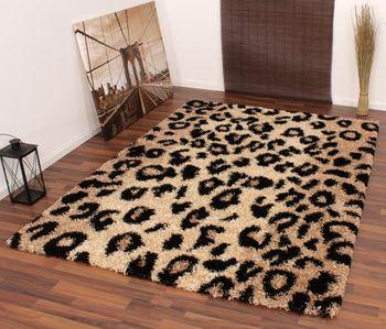 Teppich Hochflor Shaggy Leopard Muster Beige Schwarz – Bild 2
