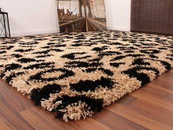 Teppich Hochflor Shaggy Leopard Muster Beige Schwarz – Bild 3