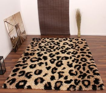 Shaggy High-Pile Rug with Leopard Print Pattern Beige and Black – Bild 1