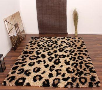 Teppich Hochflor Shaggy Leopard Muster Beige Schwarz – Bild 1