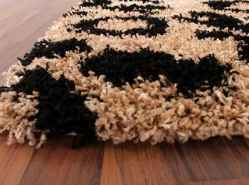 Shaggy High-Pile Rug with Leopard Print Pattern Beige and Black – Bild 4