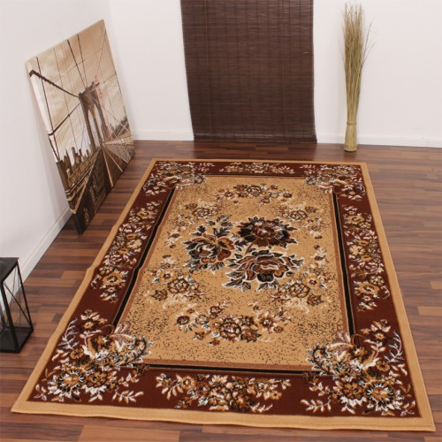Classic Rug - Oriental - Floral Pattern - Caramel