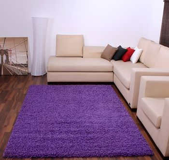 Shaggy High-Pile Rug Plain Violet Purple TOP PRICE NEW* – Bild 1