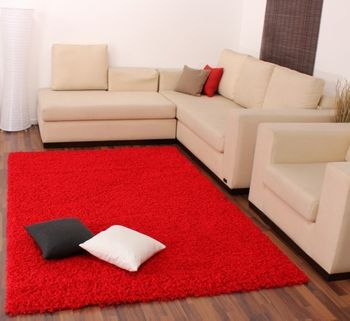 Shaggy High-Pile Rug Plain Red TOP PRICE NEW – Bild 3