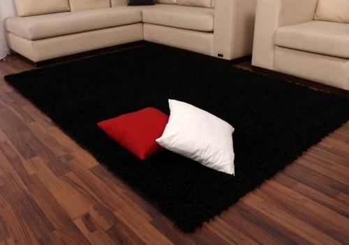 Shaggy High-Pile Rug Plain Black TOP PRICE NEW*