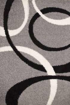Shaggy Rug - Lines Pattern - Grey Black White – Bild 4