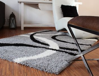 Shaggy Rug - Lines Pattern - Grey Black White – Bild 1