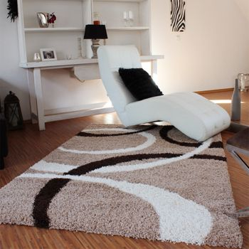 Shaggy Rug - Lines Pattern - Beige Brown – Bild 1