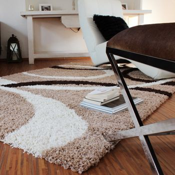 Shaggy Rug - Lines Pattern - Beige Brown – Bild 2